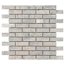 Argento Brushed Brick Travertine Mosaic 12in X