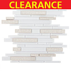 Clearance! Riva White Linear Stick Glass Mosaic