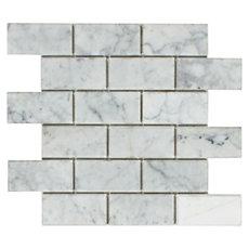 Bianco Beveled Brick Marble Mosaic