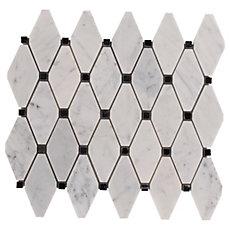 Carrara White Clipped Diamond Marble Mosaic