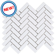New! White Herringbone Porcelain Mosaic