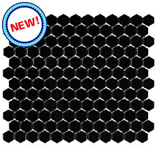 New! Black Hexagon Porcelain Mosaic
