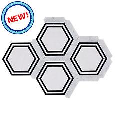 New! Carrara Thassos Hexagon Marble Mosaic