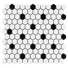 White and Black Mixed Hexagon Porcelain Mosaic