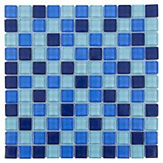 Polished Blue Mix Glass Mosaic