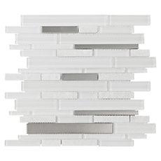 Norwegian White Linear Glass and Stone Mosaic