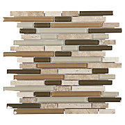 Bliss Bamboo Linear Blend Glass and Stone Mosaic