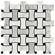 Carrara White amp Black Basket Weave Mosaic Marble Tile