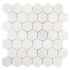 Carrara White Hexagon Marble Mosaic 12in X