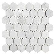 Bianco Carrara Hexagon Mosaic Marble Tile Floor Amp Decor