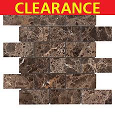 Clearance! Dark Emperador Brick Marble Mosaic