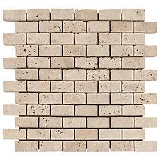 Crema Antiqua Tumbled Brick Travertine Mosaic